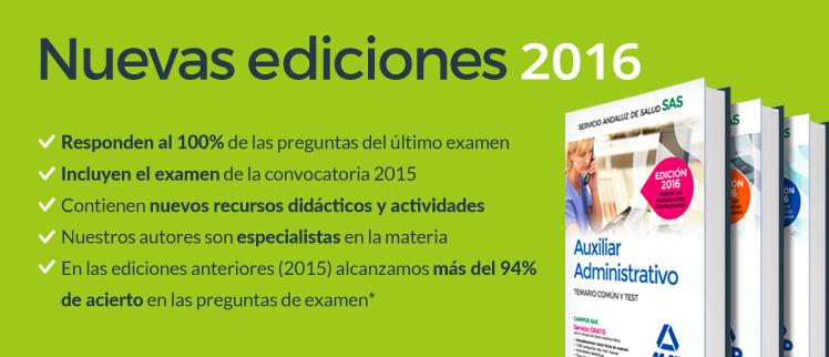 NUEVAS EDICIONES 2016 - Responden al 100% de las preguntas del último examen
